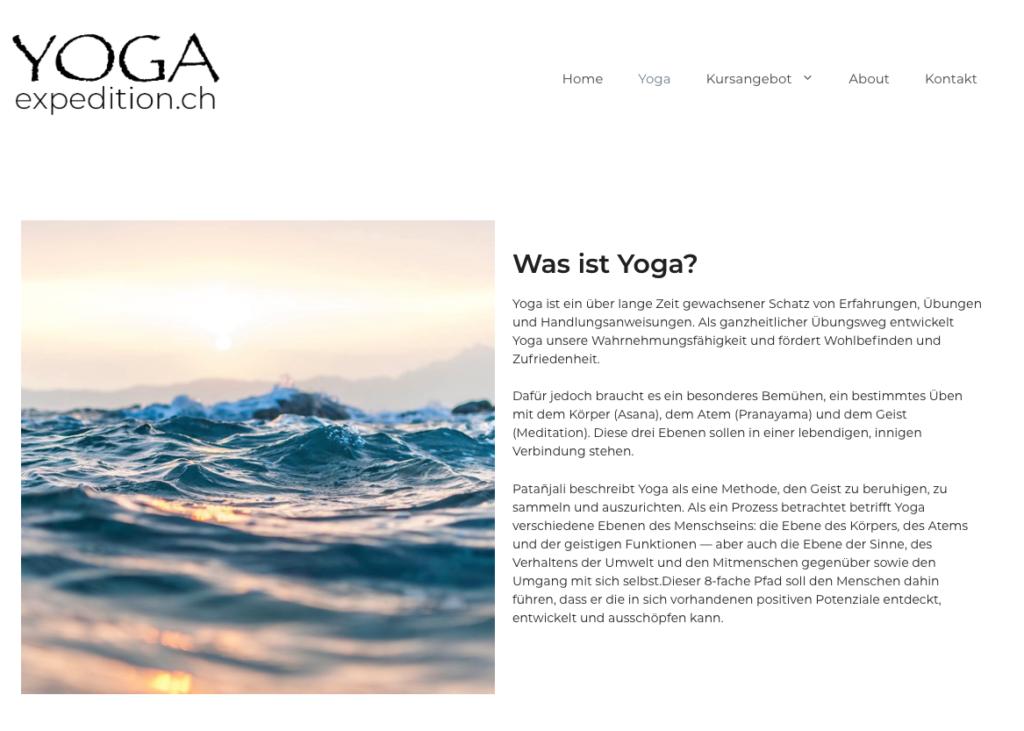 "Screenshot of ""Yogaexpedition.ch"", category ""Yoga"""