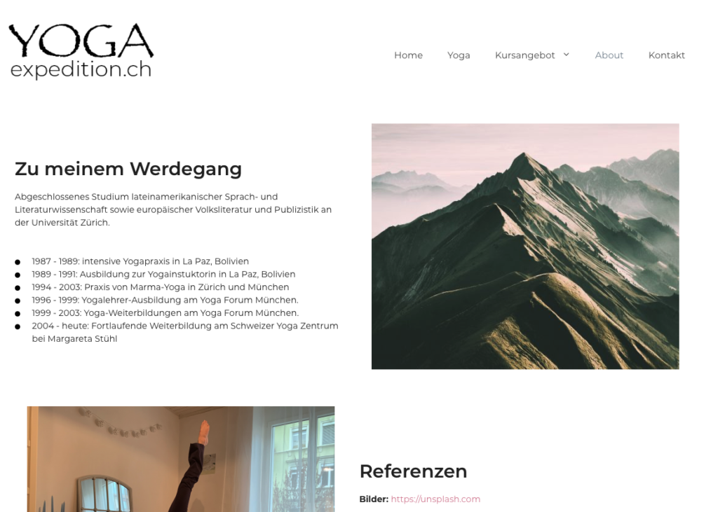 """Screenshot of """"Yogaexpedition.ch"""", category """"About"""""""