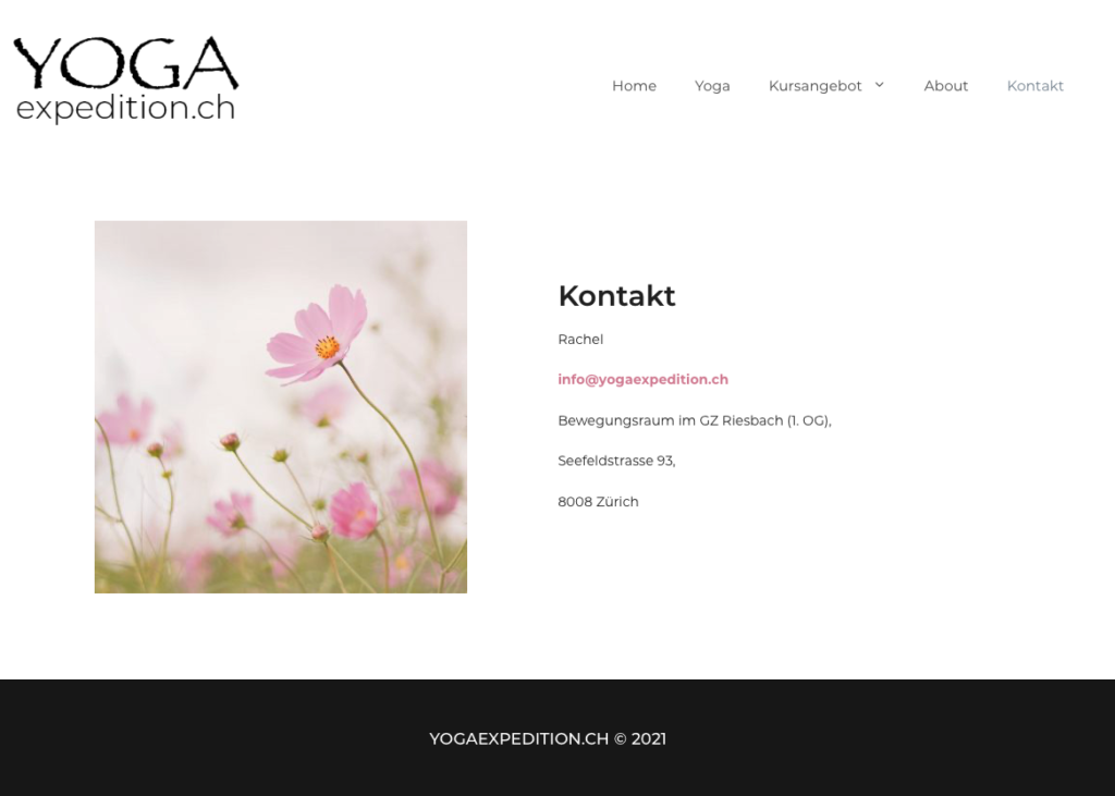 "Screenshot of ""Yogaexpedition.ch"", category ""Kontakt"""