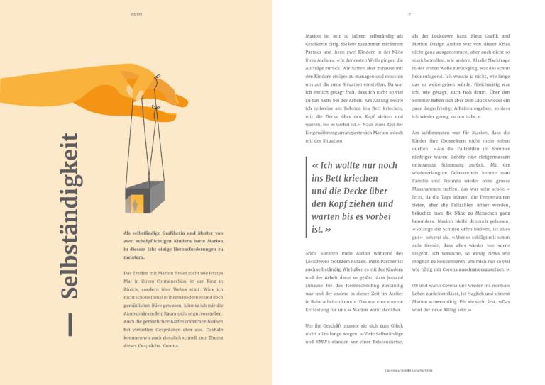 """Page in magazine """"Corona schreibt Geschichten"""""""
