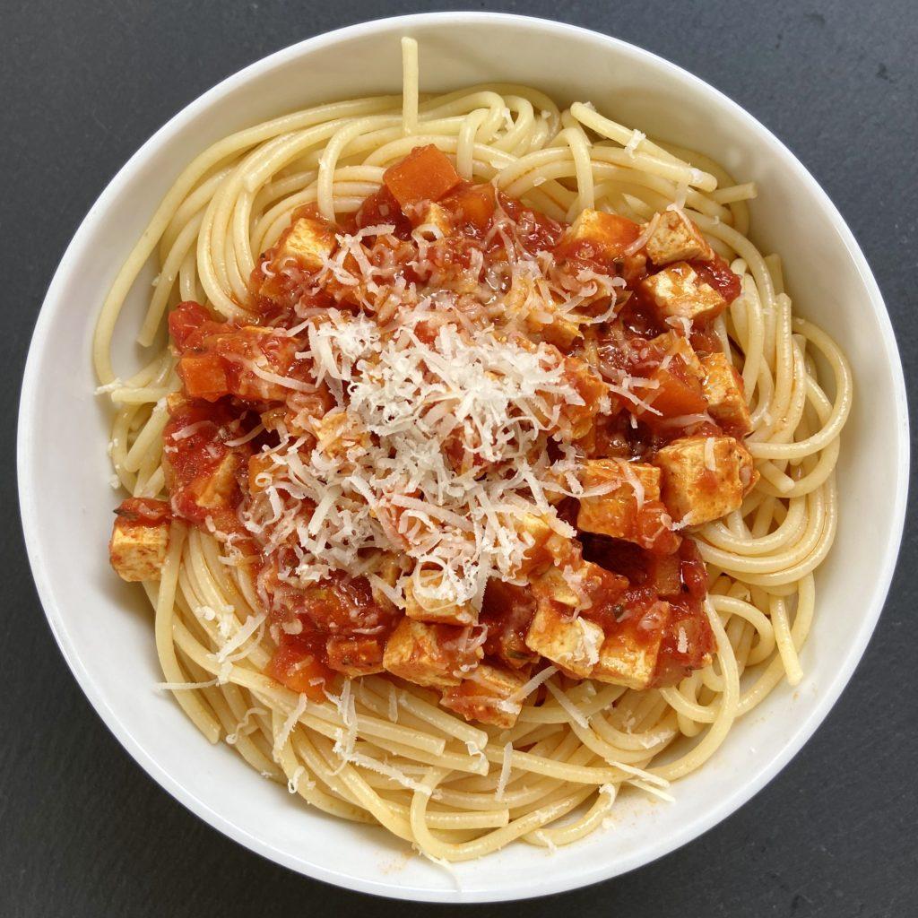 Vegibolognese and Spaghetti